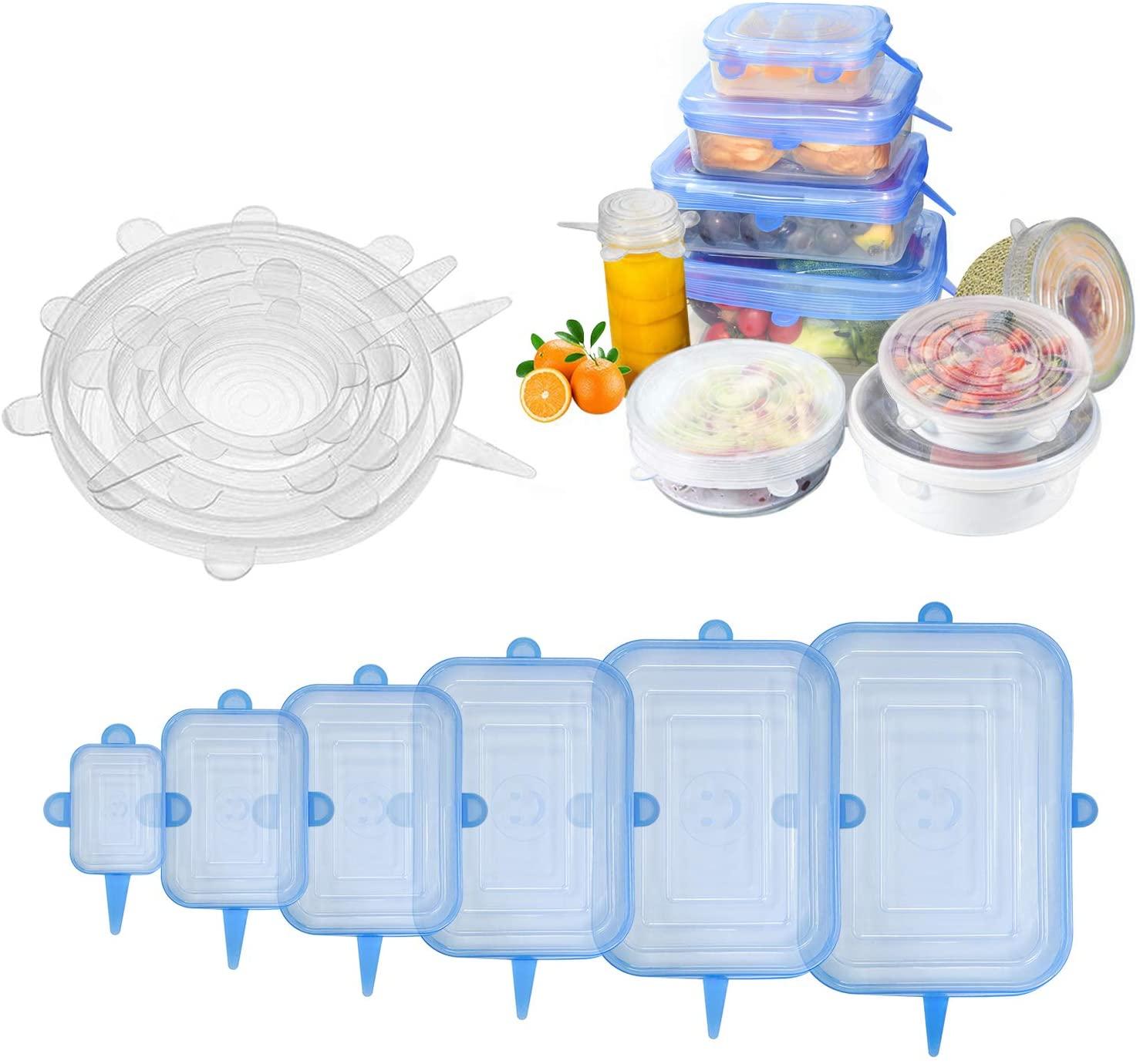 Paquet de 6/12 couvercles extensibles en Silicone couvercles de nourriture durables réutilisables pour bols, tasses, boîtes de conserve, récipient de nourriture, lave-vaisselle et congélateur