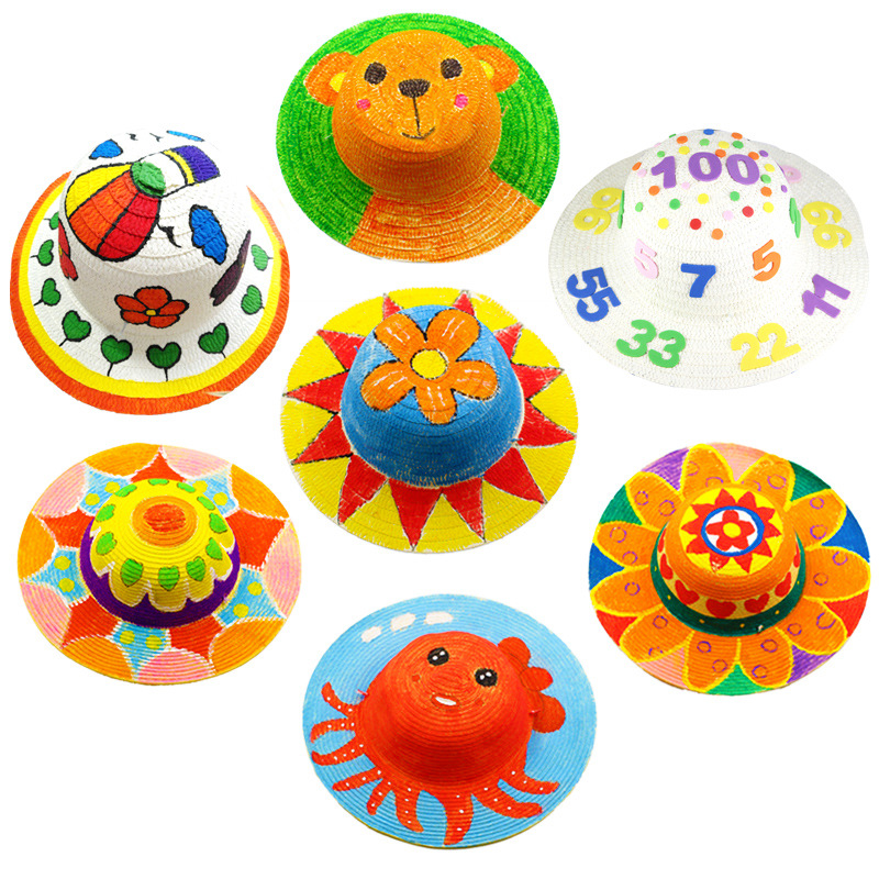 1pc Baby DIY Hat Graffiti Straw Hat Color Drawing Accessories Baby Early Educational Toys