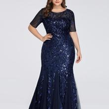 Party-Gowns Evening-Dresses Ever Pretty Mermaid-Sequined Saudi Arabia Elegant Plus-Size