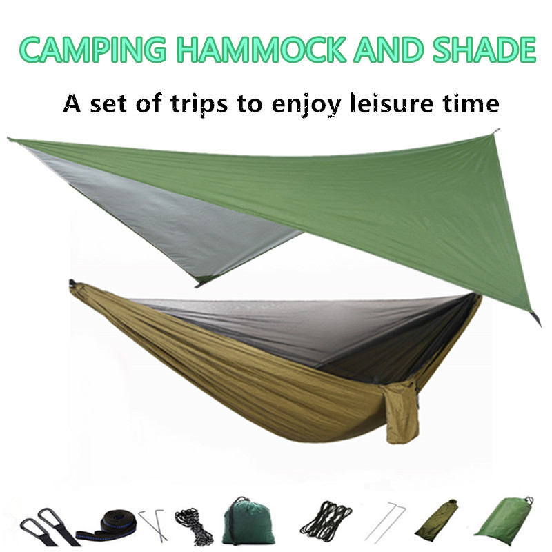 Camping Hammock With Mosquito Net And Rain Fly Tarp,Portable Parachute Tree Hammock Nylon Swing Hammocks Sun Shelter Rain Fly