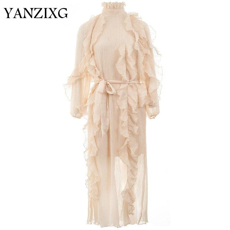 2019 nouveau printemps et été mode femmes vêtements volants col doux plissé glands en mousseline de soie manches bouffantes robe longue Q312