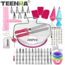 TEENRA 200Pcs/set Cake Turntable Set Reusable Cake Decorating Supplies Kit Stainless Pastry Nozzles Kitchen Dessert Baking Tools