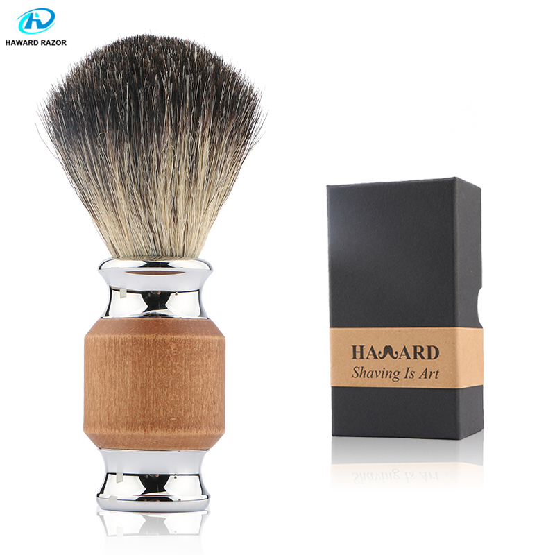 HAWARD Shaving Brush Professional Pure Badger Hair Beard Brush For Shaving Wood&Zinc Alloy Handle Mens Facial Wet Shave Brushes