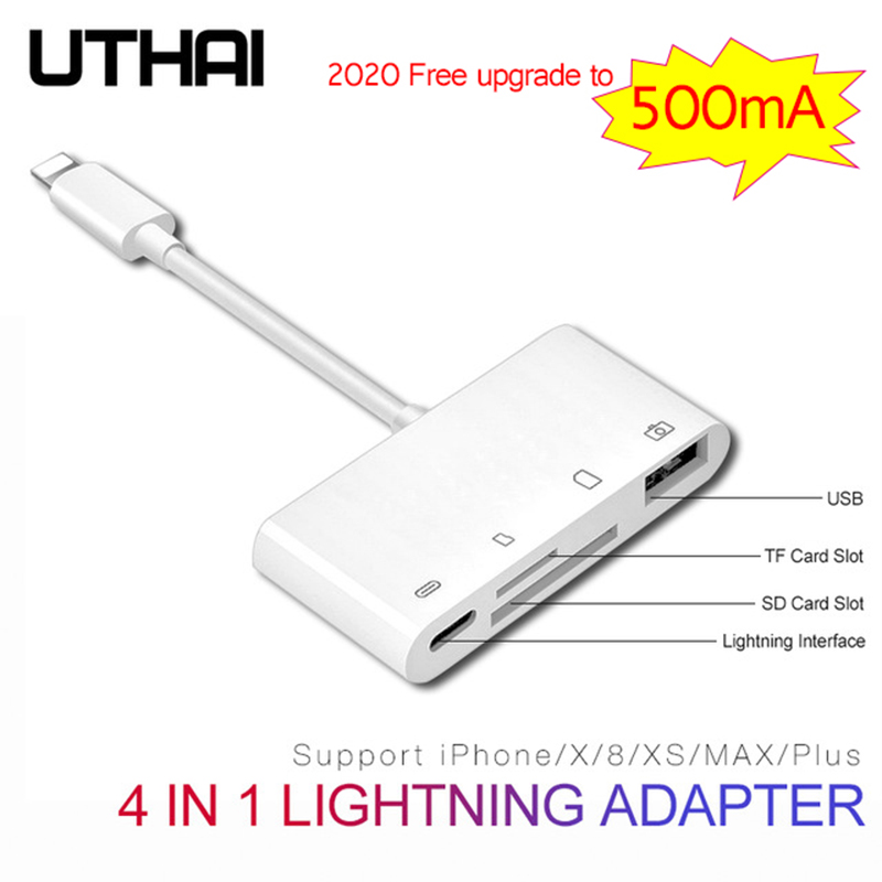UTHAI B16 Multi Adapter Lightning Card Reader To SD TF CF Micro USB HDMI 3.5Audio Converter For IPhone 7 8 11 X XR Plus Charging