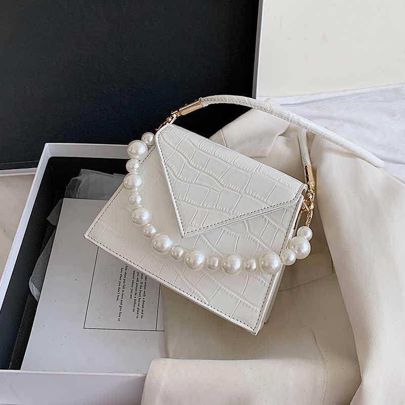 Perle Kette Mini Stein Muster PU Leder Umhängetaschen Für Frauen 2020 Mode Designer Schulter Tasche Weiblichen Geldbörsen Und Handtaschen