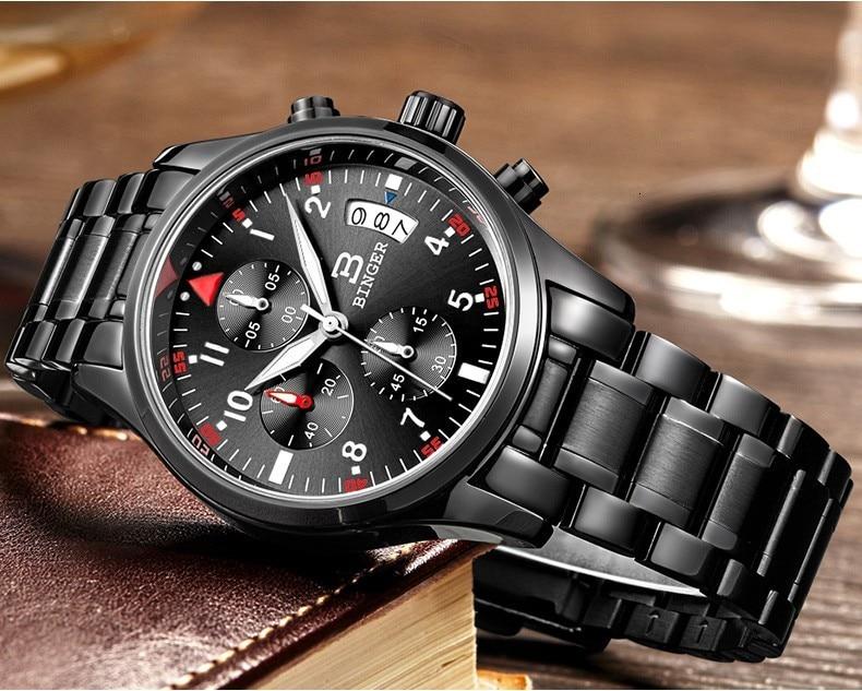 esporte couro preto relógio de luxo masculino