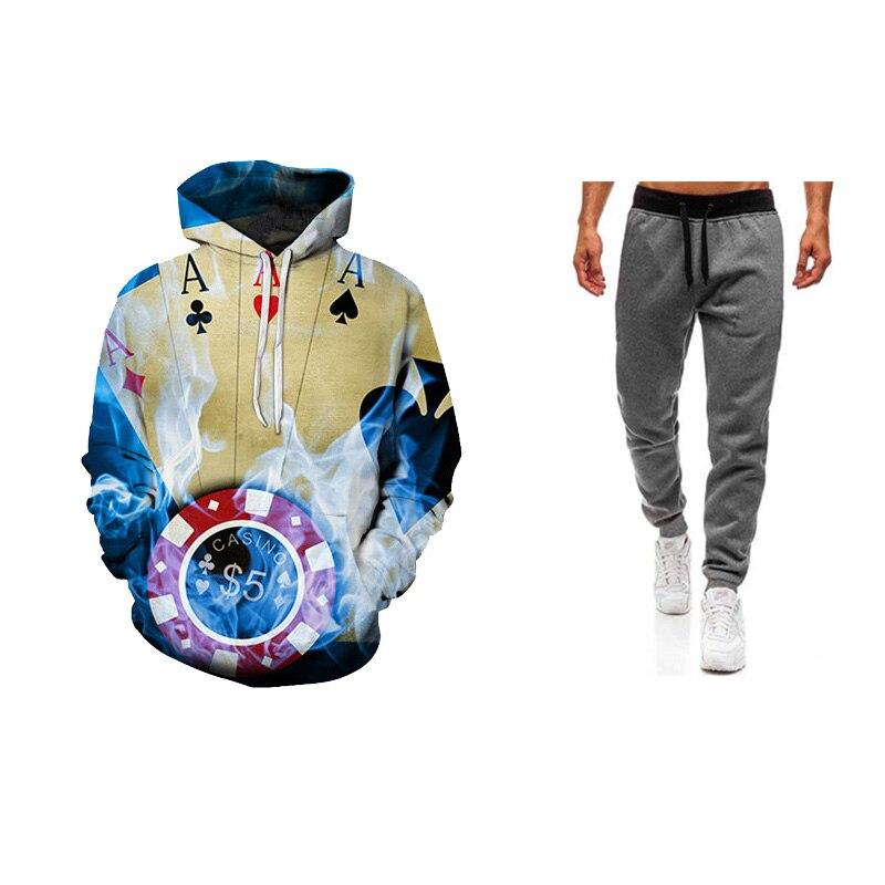 2019 Fashion Tracksuit Men 3D Printing Autumn Men Sweatshirt  Hoodies Outwear+jorgger Pant Winter Handsome Hooded  Hio Hop Suits