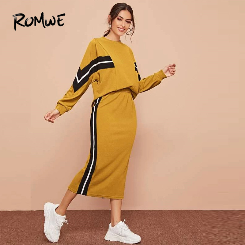 ROMWE Striped Textured Top And Split Back Pencil Skirt 2Piece Set Women Casual Long Sleeve Tracksuit Midi Skirt Two Piece Outfit
