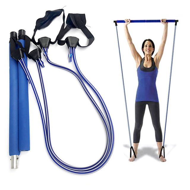 Adjustable Yoga Sports Body Building Squat Training Bar Removable Pilates Stick with Resistance Band Gym Fitness Equipment