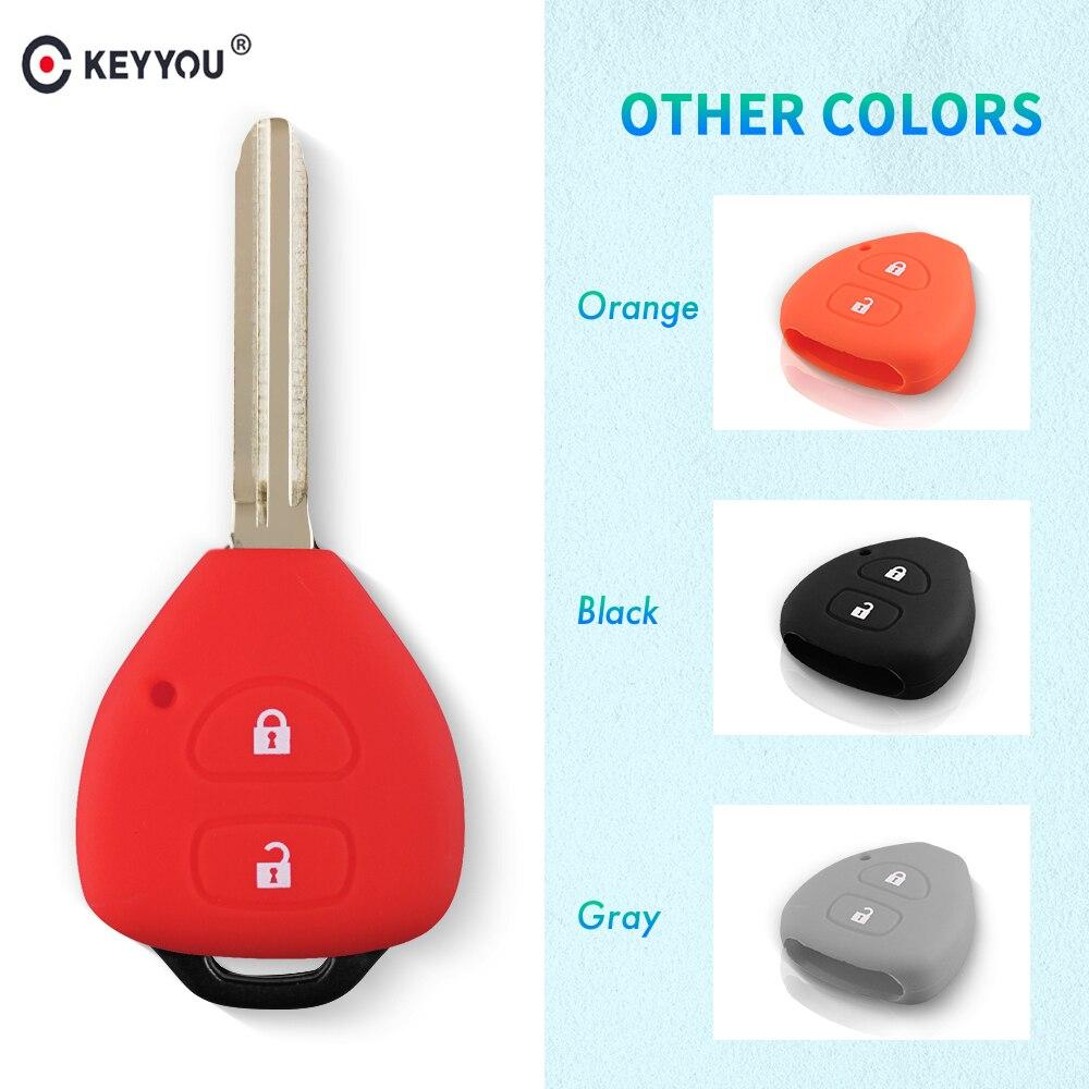 KEYYOU 2 Buttons Silicone Key Case Shell Cover For TOYOTA Corolla Hilux Vitz Rav4 Aqua Camry
