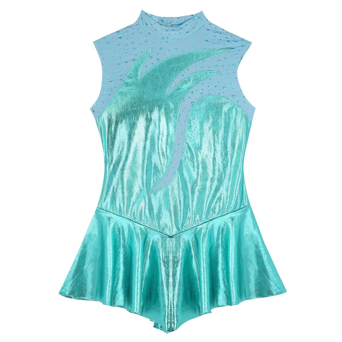 Image 5 - Мода для женщин и взрослых, для девочек, блестящее металлическое платье с высоким воротом, без рукавов, с замочной скважиной на спине, для катания на коньках, балетное платье, гимнастический купальникБалет    АлиЭкспресс