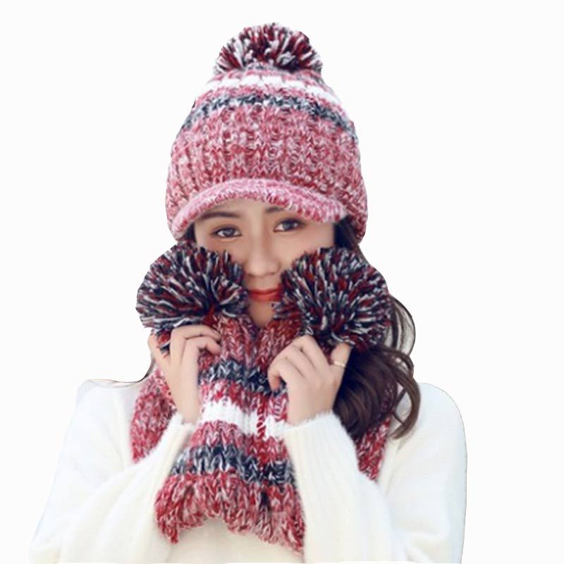 Winter Women Hat And Scarf Glove Set For Women Thicken Wool Warm Kitted Hats And Scarves Bonnet Beanie Caps Winter Women Hat