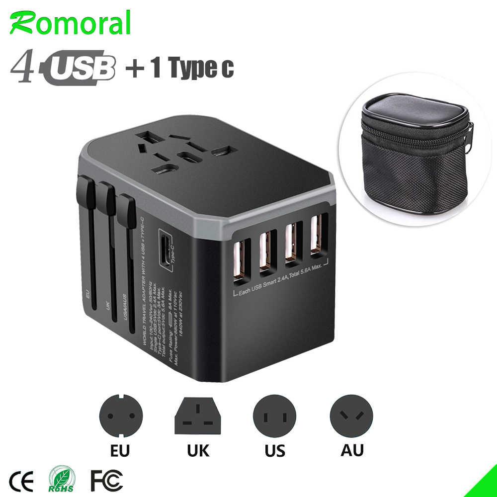 4USB Universal Travel Adapter Type C Universele Power Adapter Voor Reizen Stekkers Converter Voor Eu Ons Uk Au Travel Charger