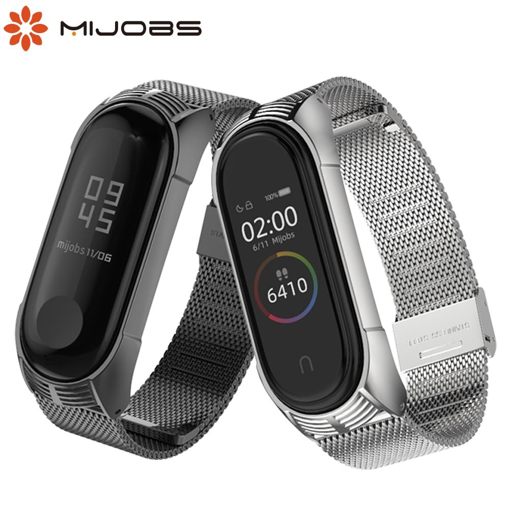 Mijobs Mi Band 3 4 Wrist Strap Metal Screwless Stainless Steel For Xiaomi Mi Band 4 3 Strap Bracelet Miband 4 3 Wristbands