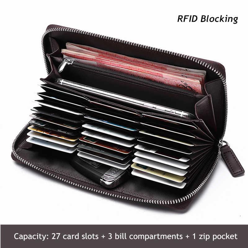 BISON DENIM Kulit Asli RFID Blocking Dompet Zipper Koin Saku Dompet Panjang Paspor Cover untuk Pria Pemegang Kartu Dompet W8226