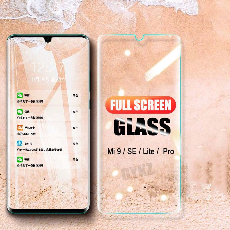2Pcs  Full Screen Tempered Glass For Xiaomi Mi 9 Mi 9 SE Full Coverage Anti Blu-ray Protective Glass For Xiaomi Mi 8 9 SE Glass
