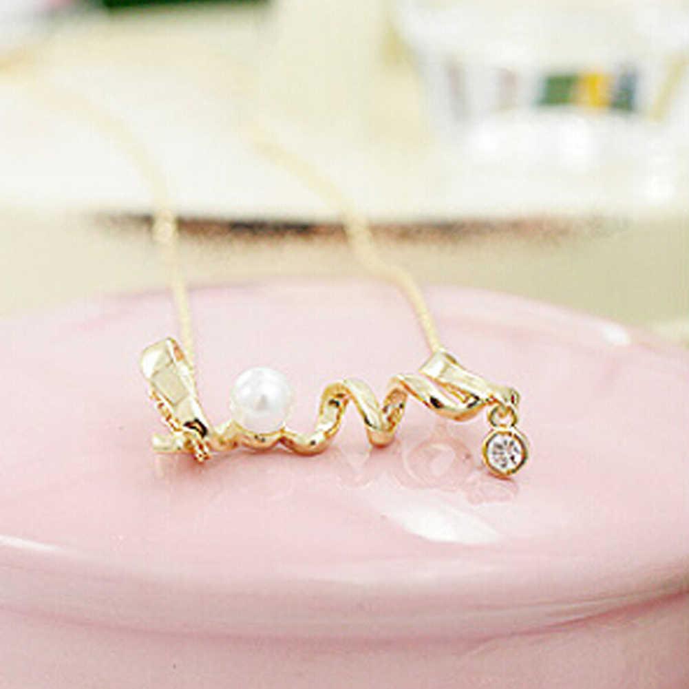 אופנה קוריאנית סגסוגת תכשיטי בעדינות סביב המילה Love Love שיק קולר שרשרת נשים סיטונאי לב