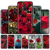 밝은 빨간 장미 꽃 전화 케이스 샤오미 레드미 9 8 8A 7 7A 6 6A 9A 9C 노트 8 프로 8T 9S 9 프로 맥스, 부드러운 실리콘 뒷면 커버