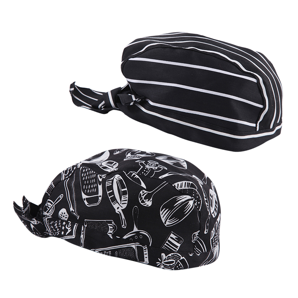 Cap Hat Headscarf Chef-Cap White Unisex And Black 2pieces Pirate Stripes