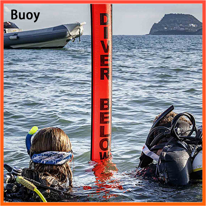 Surface Marker Buoy 1.2m 1.5m 1.8m Colorful Visibility Safety Inflatable Scuba Diving SMB Surface Signal Marker Buoy Accessory