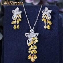 Cwwzircons 2020 nova chegada zircônia cúbica borla gota flor brincos e pingente colar moda senhoras conjuntos de jóias t334