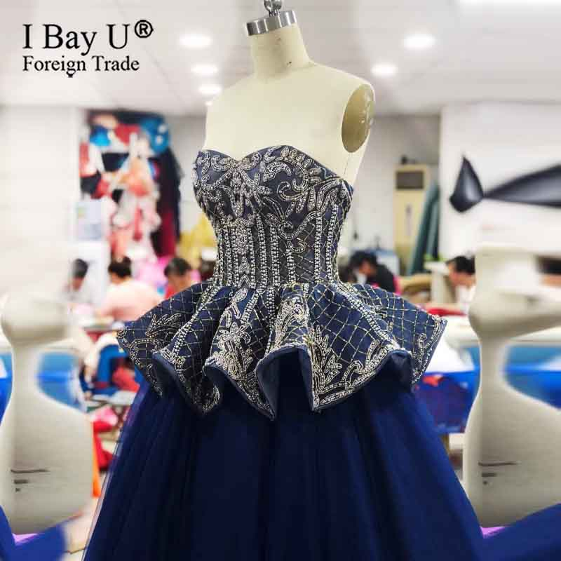 Luxury 2020 New Formal Evening Dresses Robe De Soiree Full Beading Long Party Evening Gown Navy Blue Vestido Festa Galajurk