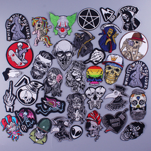 Skull Patch Iron on Patches for Clothing Sitickers Punk Embroidered Patches for Clothes Applique DIY Plague Doctor Patch Badges