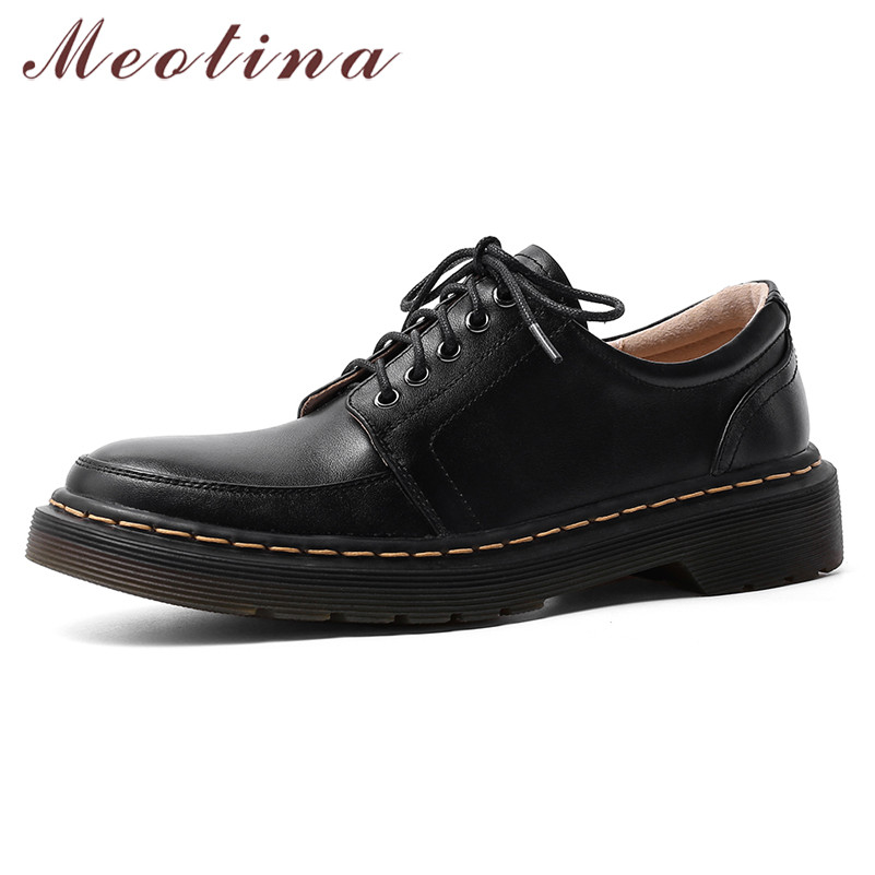 Meotina High Heels Women Shoes Natural Genuine Leather Thick Heel Derby Shoes Real Leather Round Toe Pumps Ladies New Size 34-40