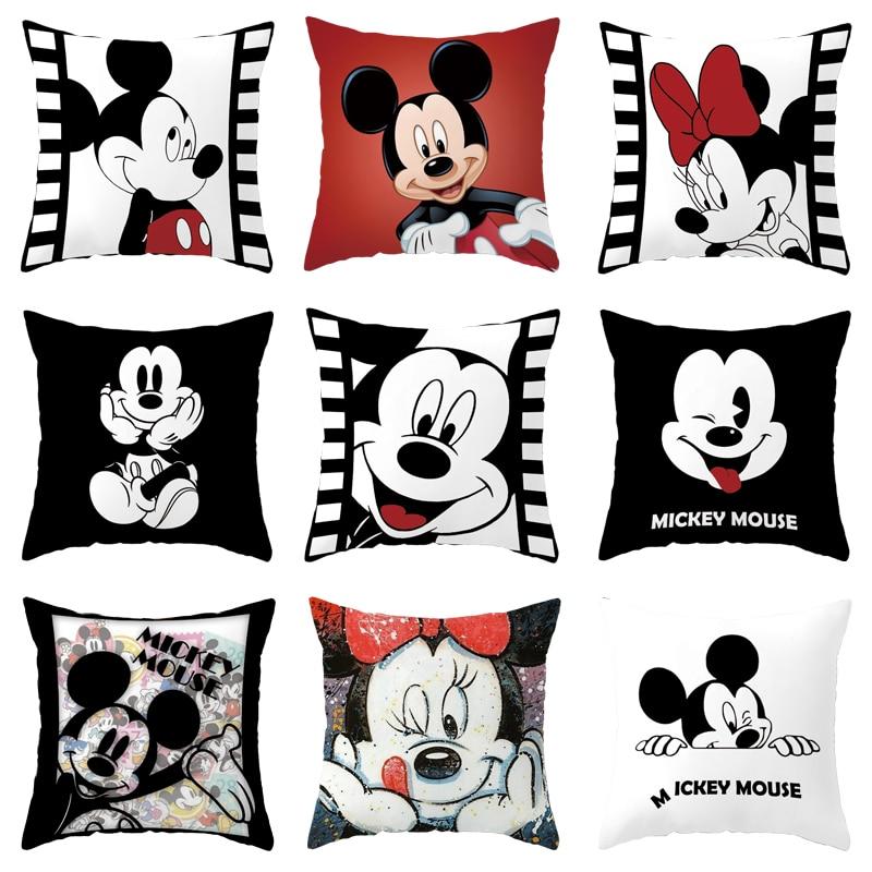 Disney Black and White Pillowcase Cartoon Mickey Mouse Minnie Mickey Boys and Girls Pillowcase Cushions 45x45 Sofa Bedding
