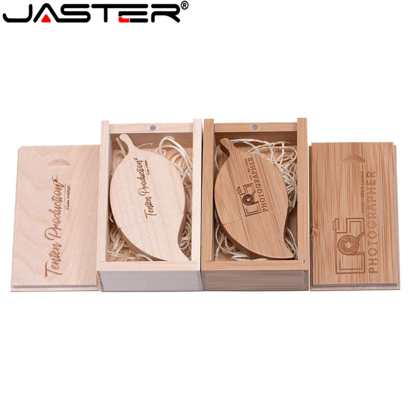 JASTER (free custom logo) wooden USB flash drive creative gift customized LOGO Leaves u disk bamboo pendrive 4GB 8GB 16GB 32GB