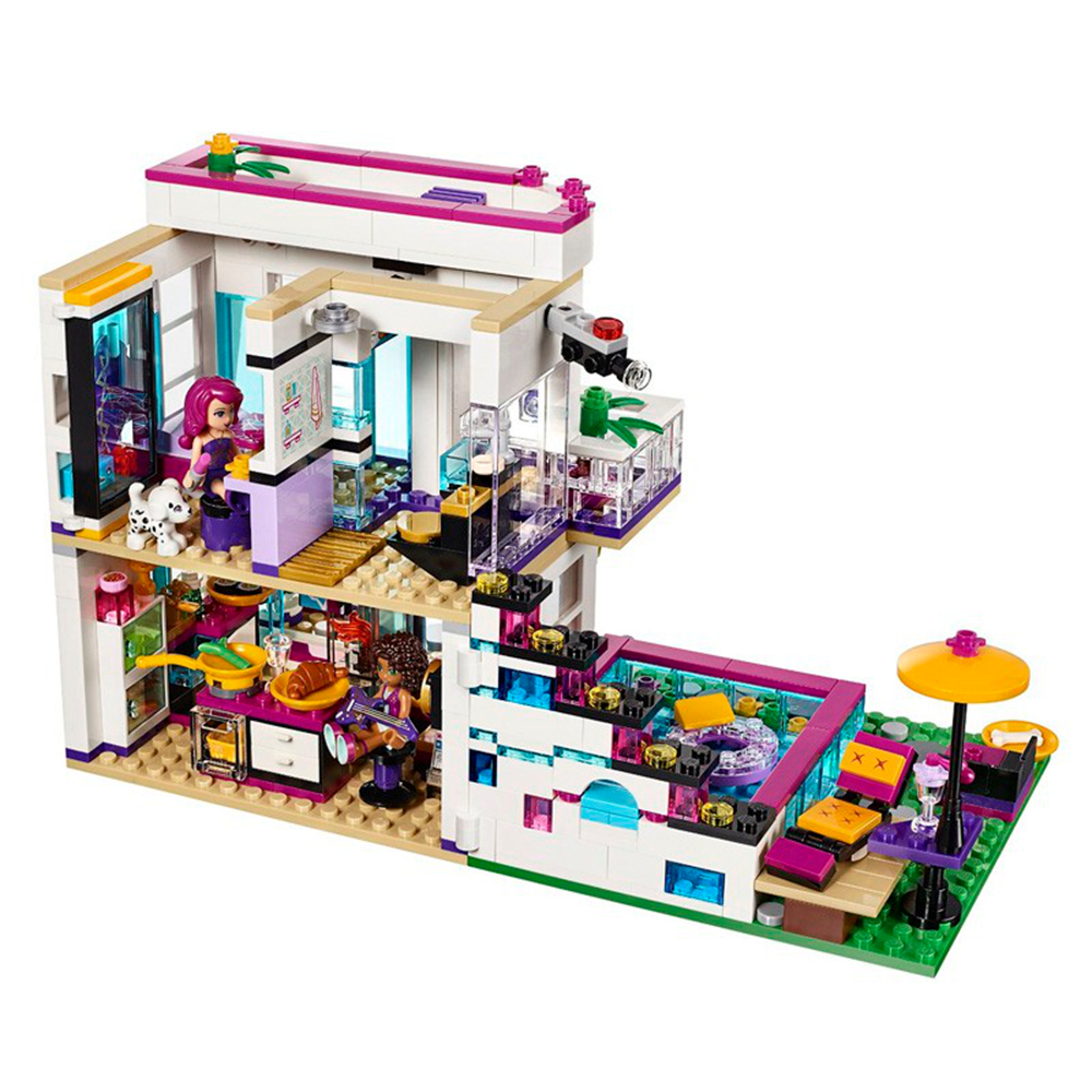 619Pcs Bela <font><b>10498</b></font> Friends Series Livi's Pop Star House Building Blocks Andrea Figures Toy Compatible With Lepining Friends image