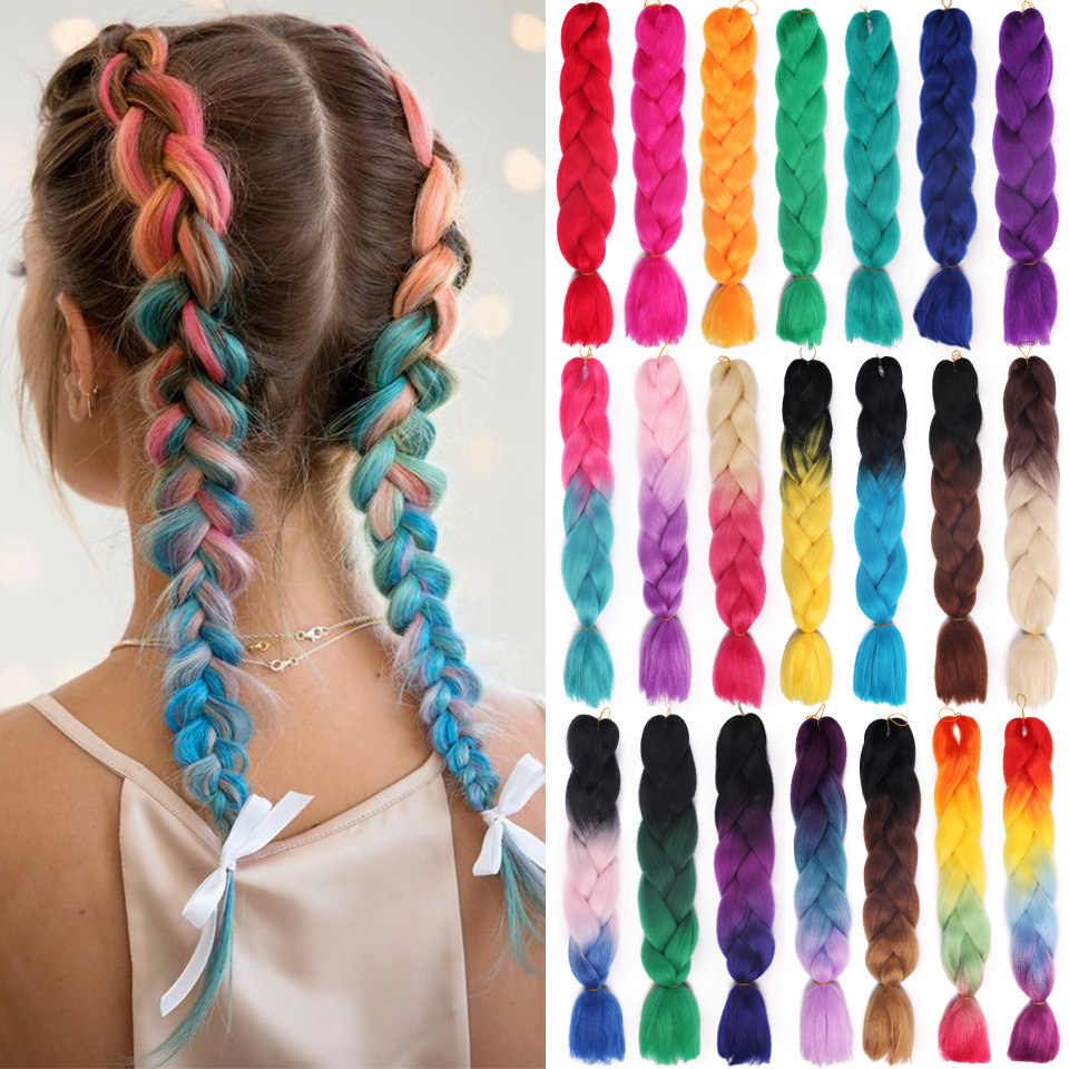 TALESHE 24 inch Jumbo Braids Long Ombre Synthetic Braiding Hair Crochet Blonde Pink Blue Grey Hair Extensions African for Women