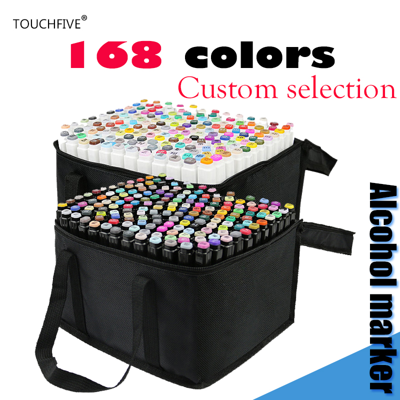 TOUCHFIVE 1pcs Can Choose Color Number for Yourself Dual Head Art Sketch Marker for Drawing markers pen Alcohol Based Marker