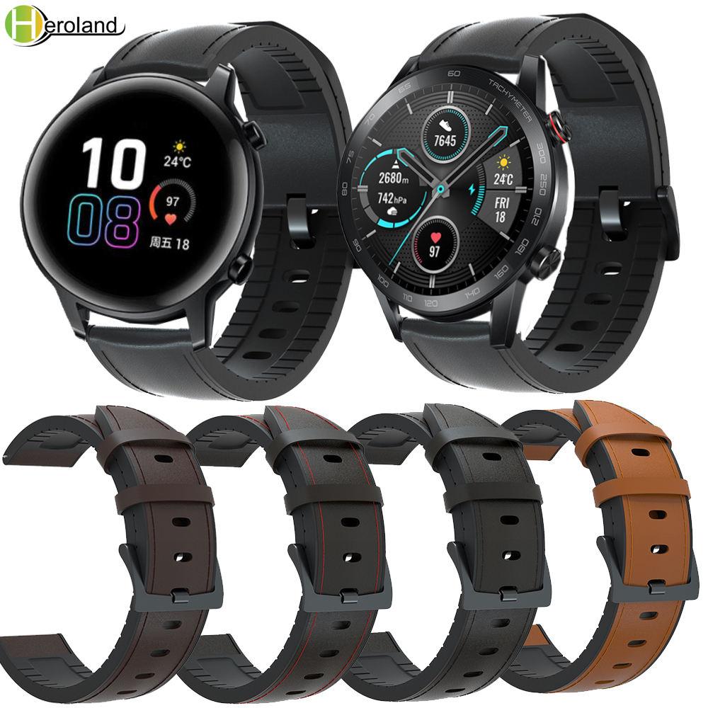 20 мм 22 мм ширина ремешок для часов кожа + силикон для Huawei Honor Magic Watch 2 46 мм 42 мм быстросъемный ремешок для часов