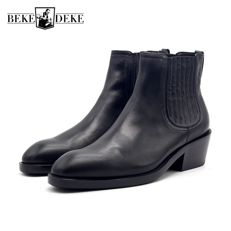 Autumn Winter Pointed Booties Man Luxury Handmade Men Shoes Leather Black Slip On Mens Ankle Boots European High Heel 6CM 34-45