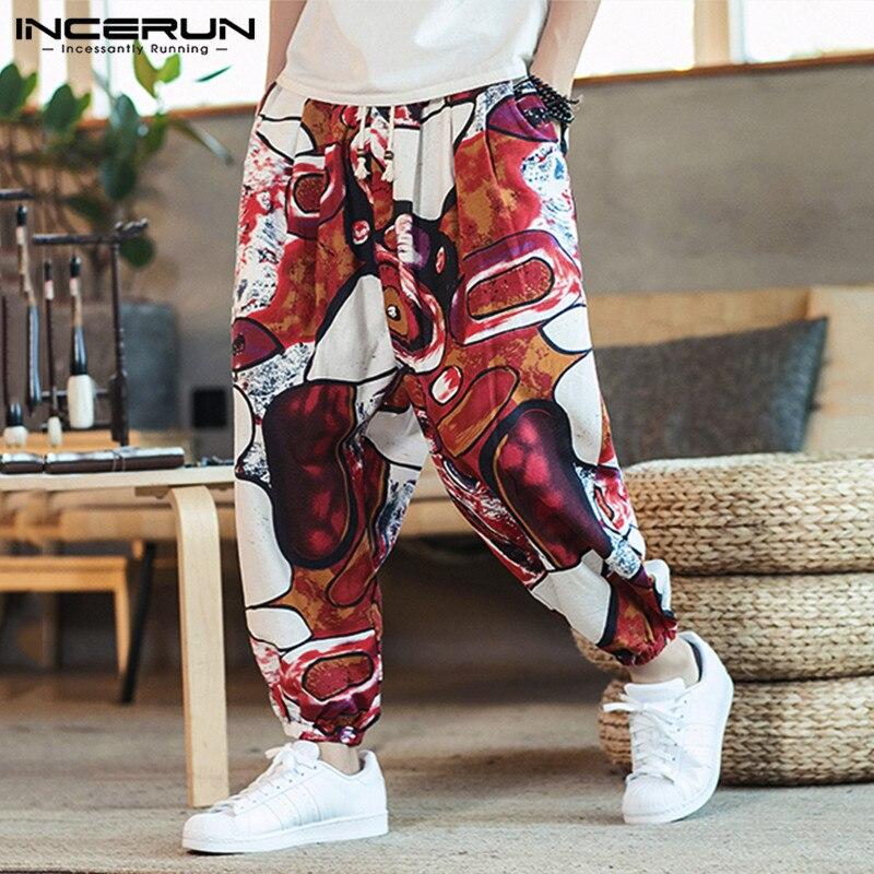 INCERUN Men Printed Harem Pants Joggers Drawstring Drop-Crotch Trousers Men 2020 Loose Cotton Linen Casual Thai Pants Streetwear