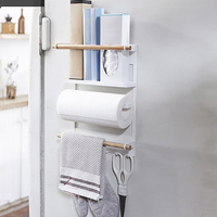 Multi Function Storage Rack Magnetic Refrigerator Rack Magnets Kitchen Storage Shelf Paper Holder Organizer Wall Mounted Hanger