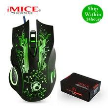 を imice X9 ゲーミングマウス有線コンピュータマウス usb サイレントゲーマーマウス 5000 dpi pc モウズ 6 ボタン人間工学魔法のゲームをラップ