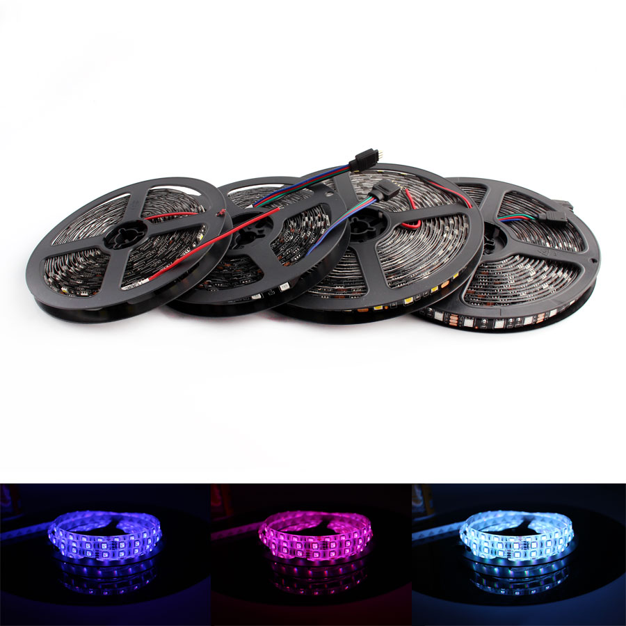 <font><b>LED</b></font> Strip Light <font><b>12V</b></font> <font><b>Waterproof</b></font> PC RGB 5050 Black PCB 1M- 5M 60led/m <font><b>Waterproof</b></font> Flexible DC <font><b>12V</b></font> RGB <font><b>Led</b></font> Strip Light Lamp Ribbon image