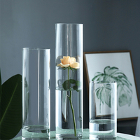3pc/lot Wedding Road Lead Acrylic Cylinder Vase Clear Round Plastic Table Flower Stander Lead Centerpiece Event Party Decoration