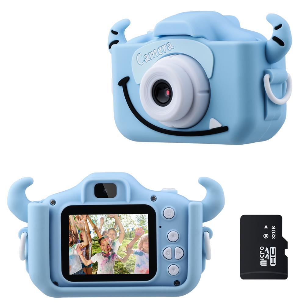 Детская камера 1080P HD с картой 32G 2,0 дюймов цветной экран Двойная селфи видео игра детская камера игрушки подарки для детей