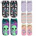 2018 Новое поступление, женские короткие носки, забавные пришельцы, носки с 3D принтом, хлопковые чулки, Носки с рисунком, art sokken - фото