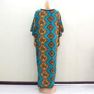 Image 2 - 2019 Dashikiage piękna afrykańska moda O Neck krótka, zwiewna rękaw elegancka szlachetna damska długa sukienka z szalikiem