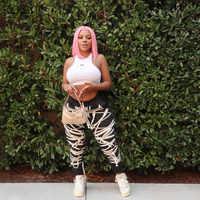 KLALIEN-pantalones de Hip Hop para mujer, pantalón ajustado de retales de cintura alta, ropa de calle informal negra, novedad de 2020