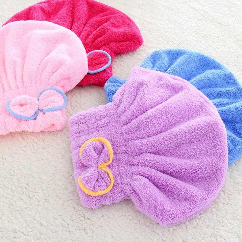 -Secagem rápida Secagem Do Cabelo Chapéu Cabeça Cap Envoltório de Banho de Veludo Super Macio e Absorvente Touca de banho Para Adultos Mulher Banheiro suprimentos