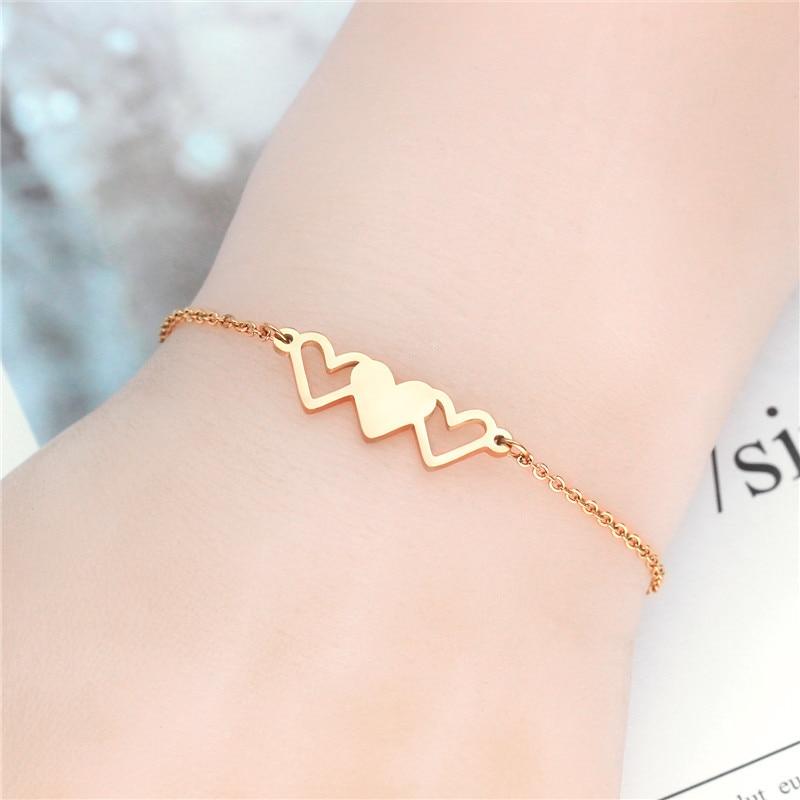 YSM B309 Jewelry 2021 Trend Titanium Steel 316L Bracelet For Women 16K Rose Gold Korean Style Heart Three Sisters Bracelet