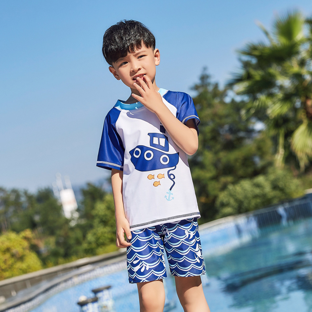 2019 New Style Hot Sales Split Type Bathing Suit Short Sleeve Shorts Hot Springs Stand Collar Ship Sea BOY'S CHILDREN'S Swimwear