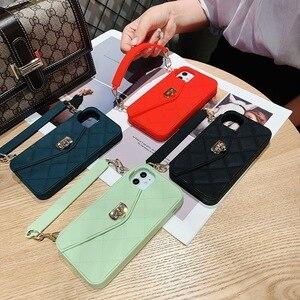 Кожаный чехол-кошелек Rhombus для Iphone 11 Pro, X, XS Max, XR, 7, 8, Pluse, 6S, с ремешком, мягкий силиконовый чехол-сумка