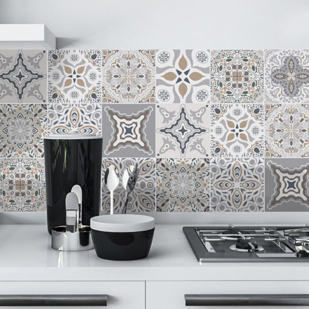 10 pcs waterproof tile stickers kitchen bathroom vinyl tiles decals stick home decor art mural tile vinyl wall decals hot sale o