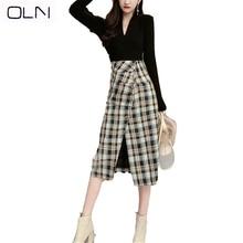 Autumn winter Skirt OLN Korean vestidos new wholesale Sexy V